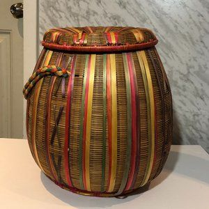Unique Woven Basket Bin with Lid and Handle
